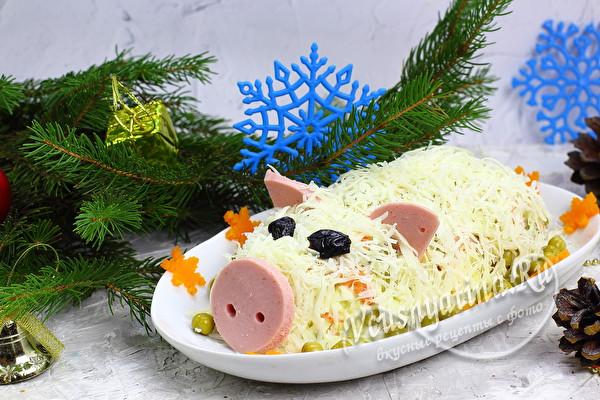 салат оливье в виде свиньи