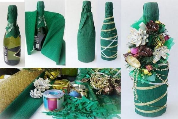 Как украсить бутылку шампанского на Новый год 2021 своими руками