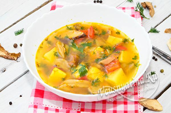 суп из белых сушеных грибов готов