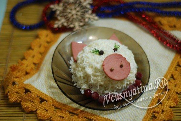 """новогодний салат """"Свинка"""""""