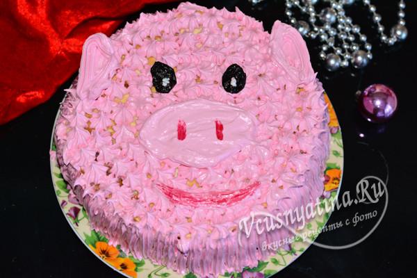 """торт """"Розовая свинка"""" готов"""
