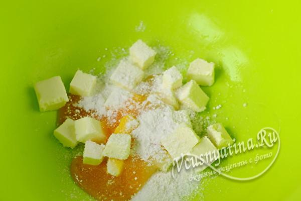 добавить разрыхлитель, соль и ванилин