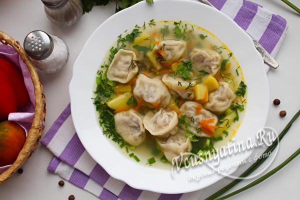Суп с пельменями: рецепт с фото пошагово