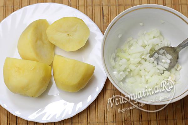 отварить картофель, нарезать лук