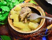 Курица в горшочке в сметанном соусе