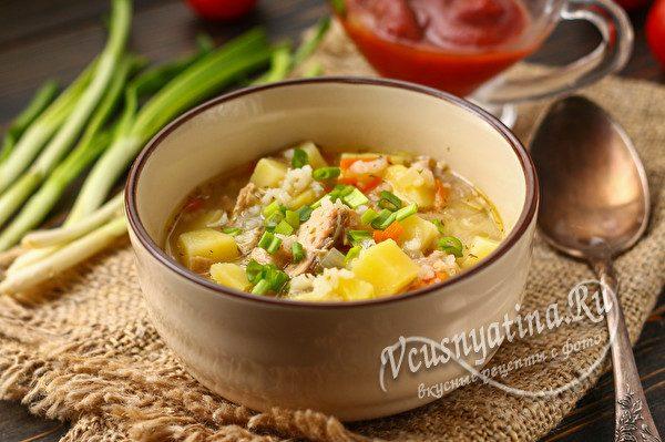 Суп с консервированной горбушей