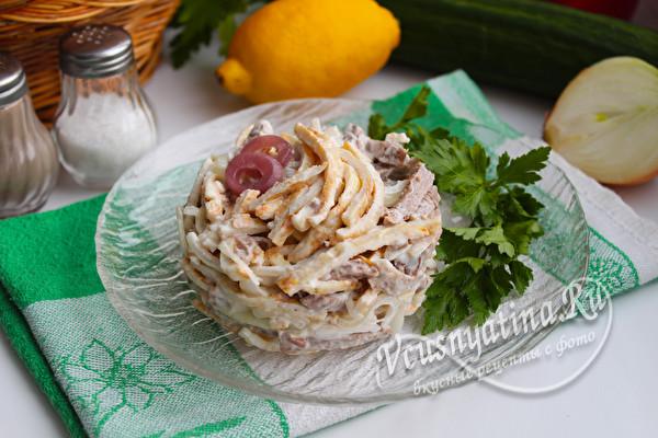 салат с мясом и луком