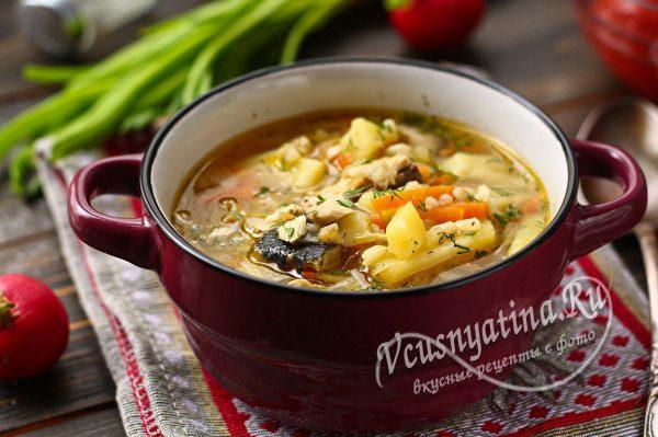 рыбный суп с чесноком