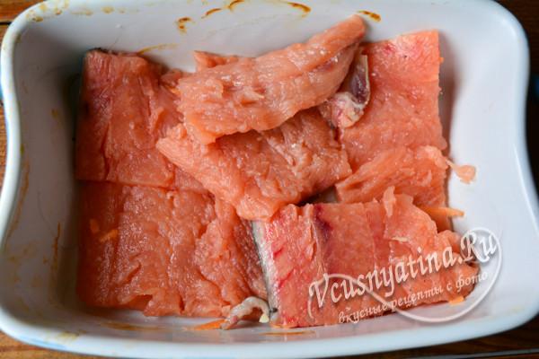 слой рыбы в форме