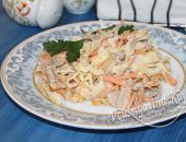 Мясной салат с блинчиками