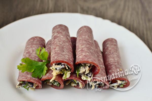 Закуска в духовке из ветчины и сыра - рецепт пошаговый с фото