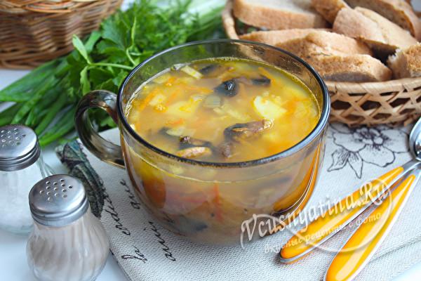 суп с грибами и горохом