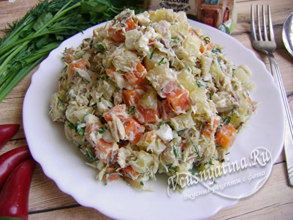 Салат с отварной рыбы с картошкой