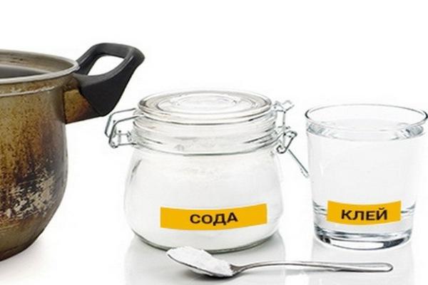 клей и сода для чистки