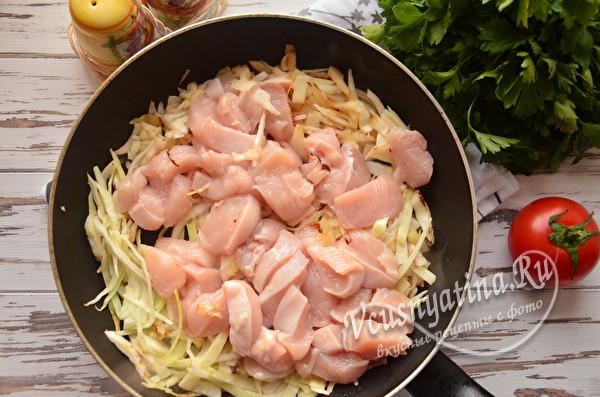 обжарка капусты с мясом