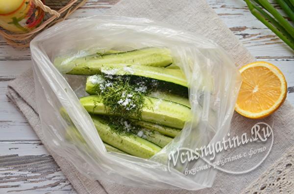 огурцы с зеленью и солью