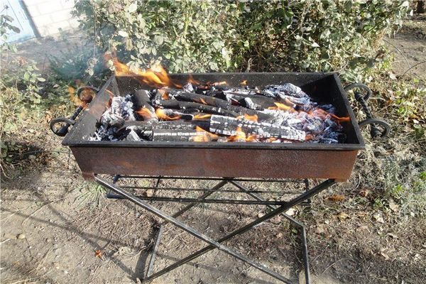 мангал с горящими углями
