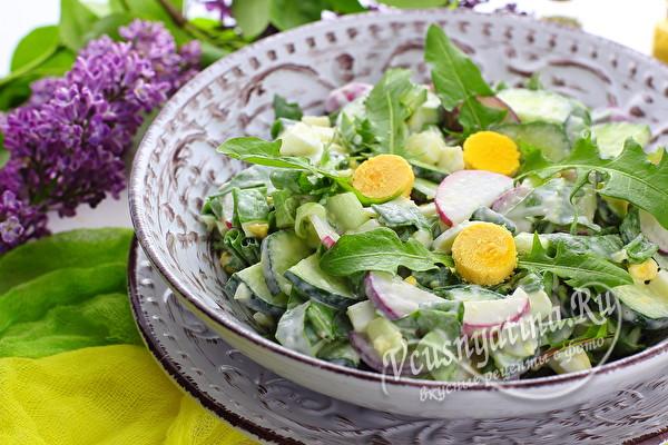 салат с щавелем и листьями одуванчика