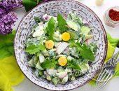 Салат из одуванчиков с яйцом
