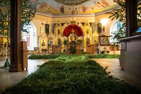 украшение зеленью церкви