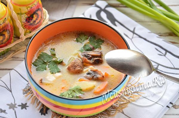 Грибной суп с шампиньонами и сыром