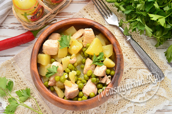 курица с картошкой о горошком