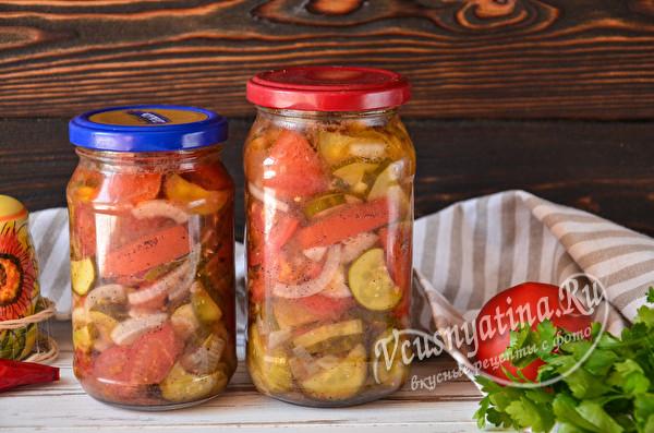 салат на зиму из помидор и огурцов