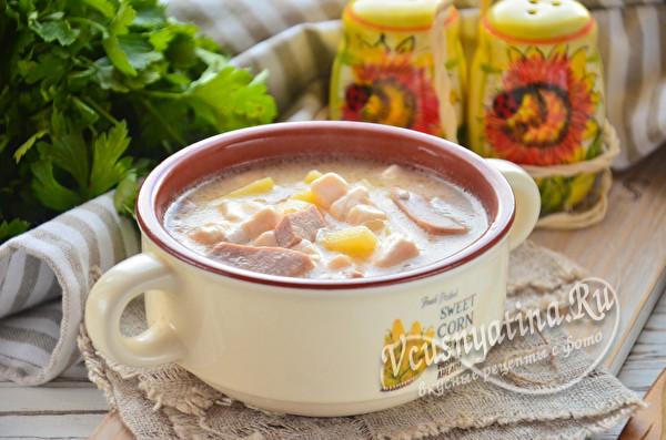 сырный суп с колбасой готов
