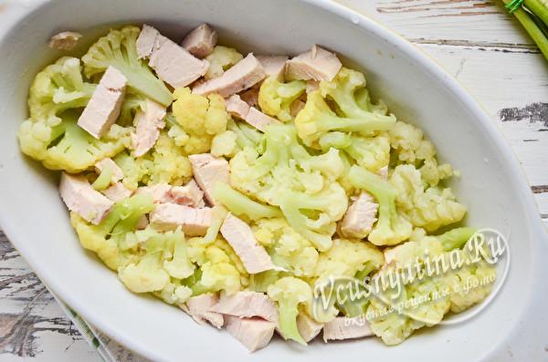 в форму выложить курицу и капусту