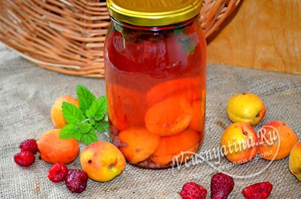 малиновый компот с абрикосами