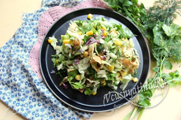 салат из молодой капусты готов