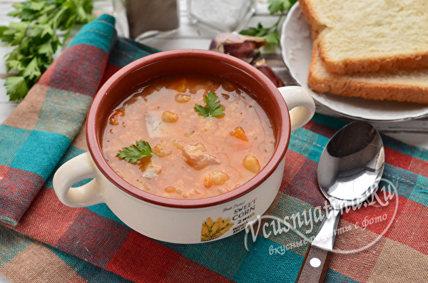 суп с капустой, пшеном и картошкой