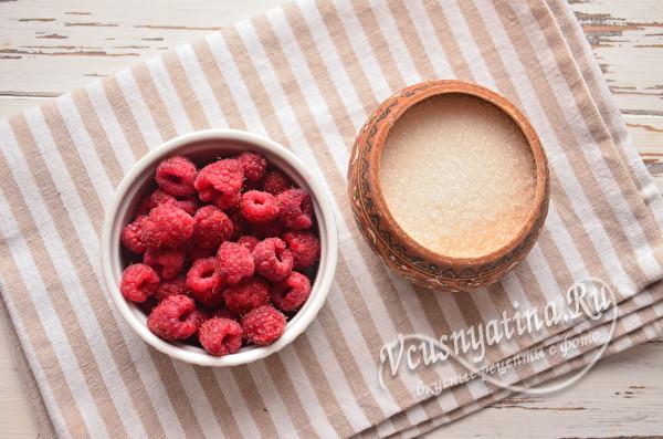 малина и сахар для компота