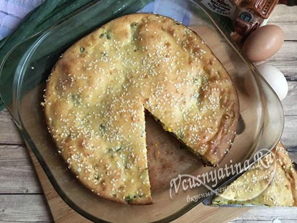 заливной пирог с луком