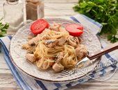 Спагетти с курицей и грибами