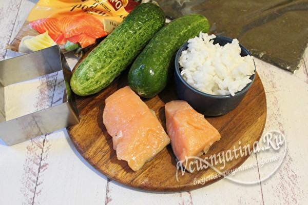 продукты для суши-торта