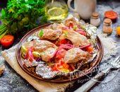 Свинина запеченная с овощами в фольге в духовке