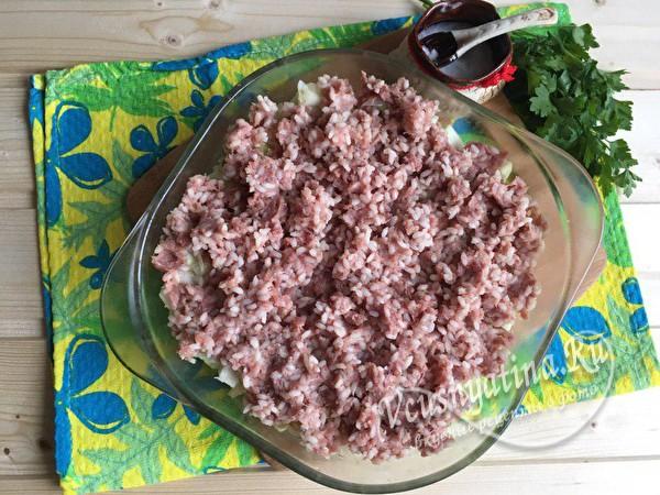 слой риса с фаршем