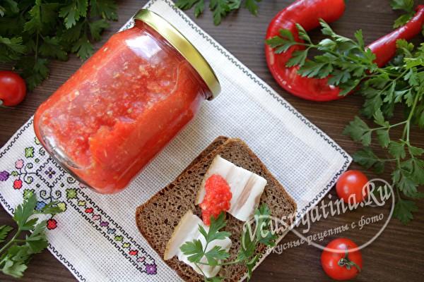 """Аджика """"Кобра"""" из помидор и чеснока"""