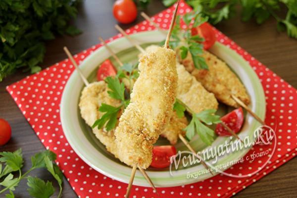куриное филе в сухарях готово