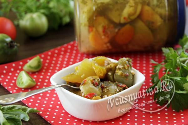 Зеленые помидоры по-армянски на зиму