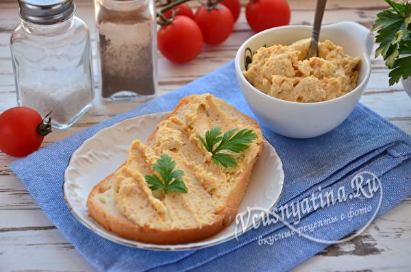 Форшмак из селедки с плавленым сыром и морковью