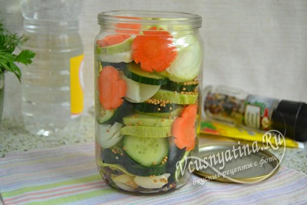 выложить овощи слоями