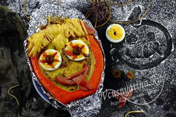 Омлет в тыкве – креативный завтрак на Хэллоуин