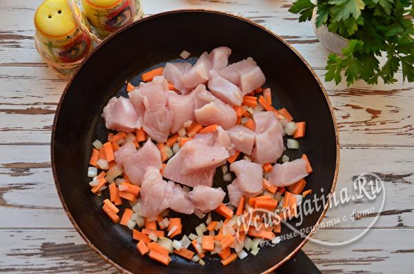 обжарка мяса и овощей