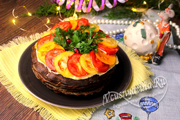 """Печеночный торт """"Праздничный"""" на Новый год"""