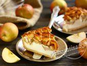 Дрожжевой пирог с творогом и яблоками