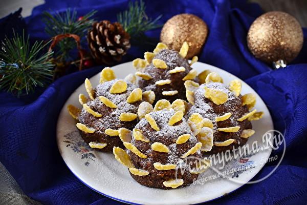 """Новогоднее пирожное """"Шишки"""" из хлопьев"""