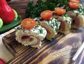 Роллы из плавленого сыра, яиц и колбасы