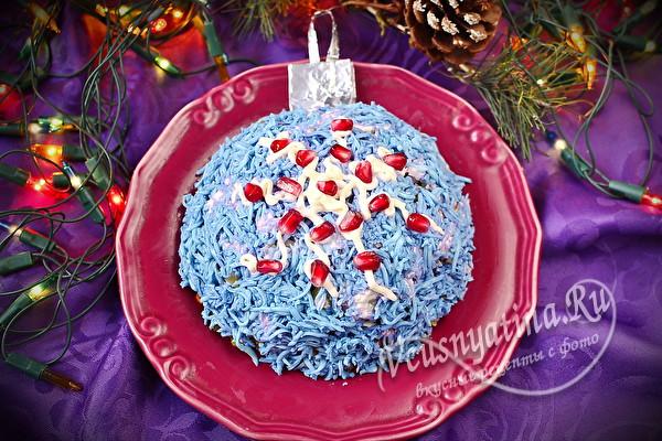 """слоеный салат """"Новогодний шар на елку"""""""